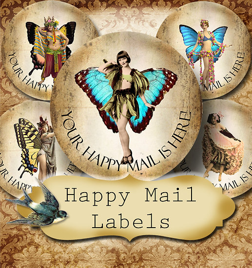 Happy Mail •60 Custom 1.5 x 1.5 Round STICKERS•Package Labels•FLY GIRL