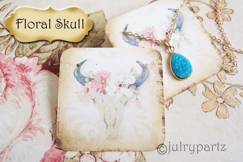 60•FLORAL SKULL•Necklace Card•Earring Cards•Jewelry Cards•Display Car