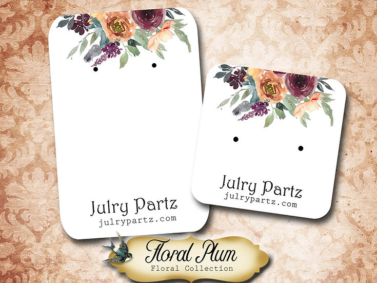 FLORAL PLUM •Necklace Card• Earring Cards •Jewelry Cards •Display CAR