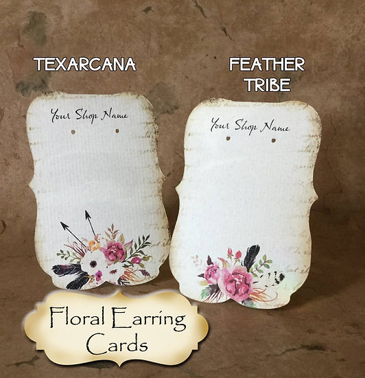 "36•Zoe•TEXARCANA•2.5 x 3.5"" Tent Cards•Earring Card•Jewelry Cards"