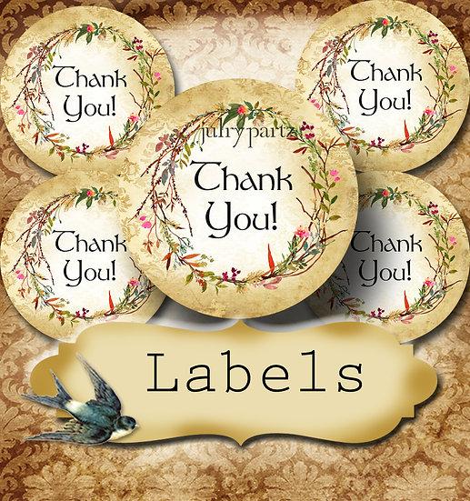 PREMADE •60 Custom 1.5 x 1.5 Round STICKERS•Round Labels•SAVANNAH WREATH 1