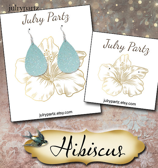 HIBISCUS•Custom Cards•Labels•Earring Display•Clothing Tags