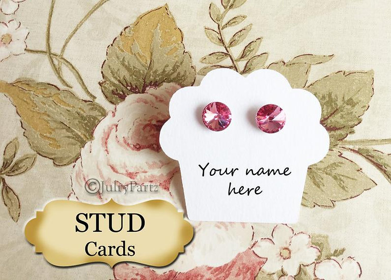 48•Cupcake STUD•EARRING Cards•Jewelry Card•Post Earring Card•Stud 9