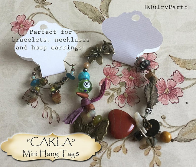 36•3.5L x 2W•CARLA•Hang Tags•NECKLACE HOLDERS•Fold Over Tags•Hang Tag