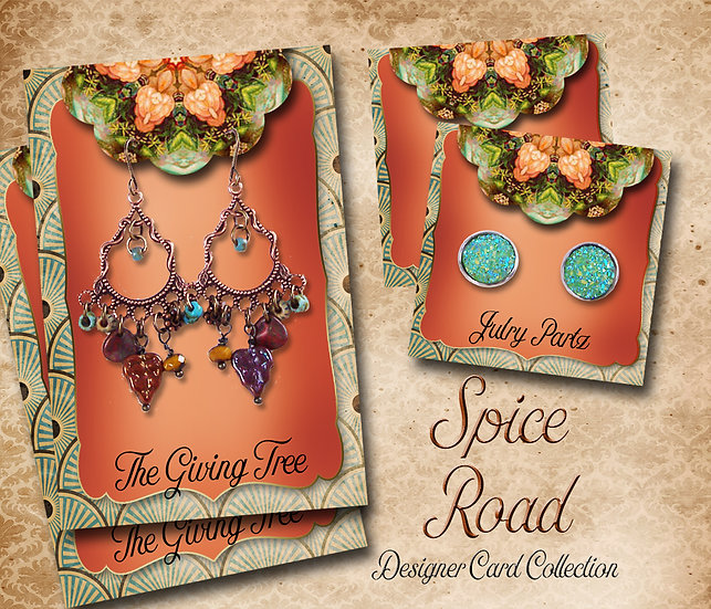 SPICE ROAD #1•Custom Cards•Labels•Earring Display•Clothing Tags