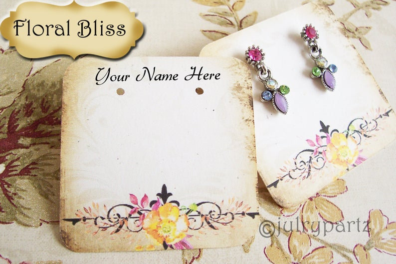 60•FLORAL BLISS•Necklace Card•Earring Cards•Jewelry Cards•Display Car