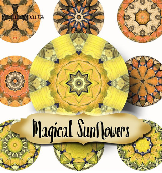 MAGICAL SUNFLOWERS •1x1 Circle Images•Printable Digital Images•Mandala