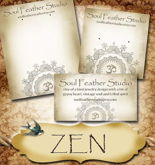 ZEN•Custom Cards•Labels•Earring Display•Clothing Tags