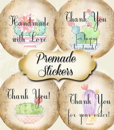PREMADE •60 Custom 1.5 x 1.5 Round STICKERS•Round Labels•FUN CACTUS #2