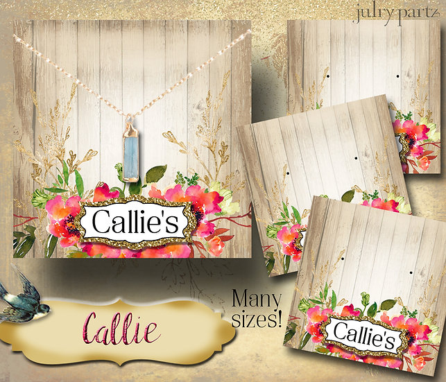 CALLIE•Custom Cards•Labels•Earring Display•Clothing Tags