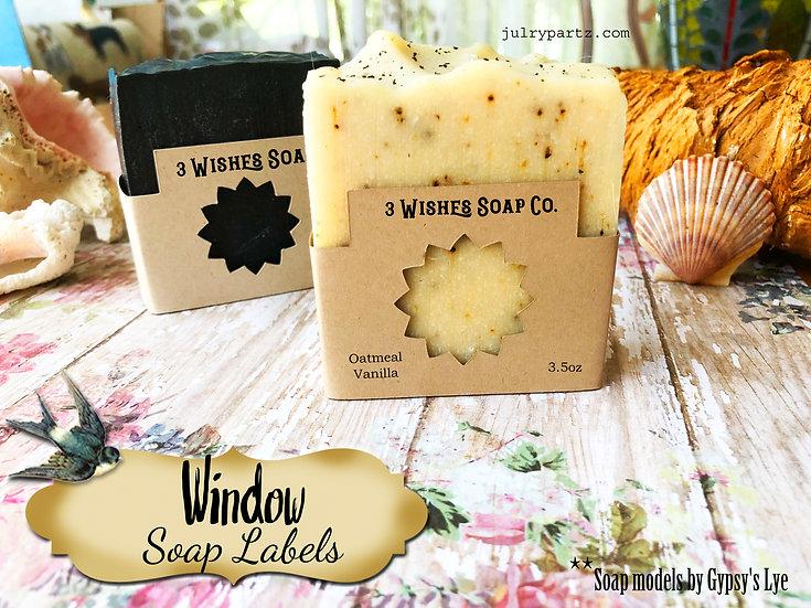36•STAR BURST WINDOW Custom SOAP Labels•Soap Packaging•Bar Soap Label•