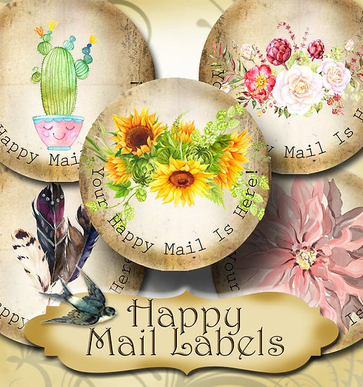 Happy Mail •60 Custom 1.5 x 1.5 Round STICKERS•Package Labels•FLORAL