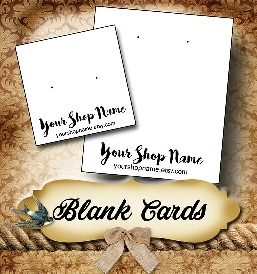 Blank Jewelry Cards •Custom Cards •Labels• Earring Display•