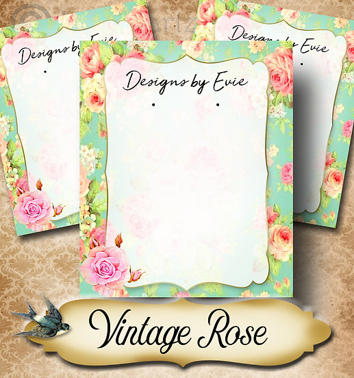 VINTAGE TEAL•Custom Cards•Labels•Earring Display•Clothing Tags