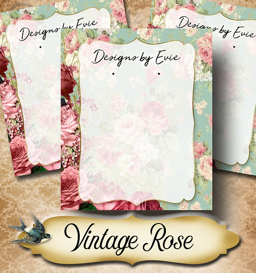 VINTAGE ROSE BLUE•Custom Cards•Labels•Earring Display•Clothing Tags