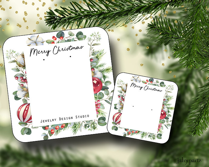 HOLIDAY•Earring Cards•Holiday Tags•Holiday Labels•SQUARE ORNAMENTS