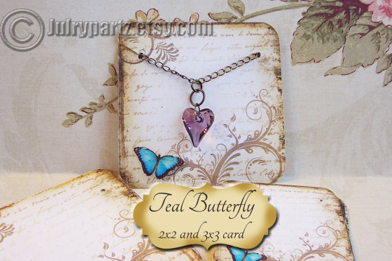 Teal BUTTERFLY•Necklace Card•Earring Cards•Jewelry Cards•Display Card
