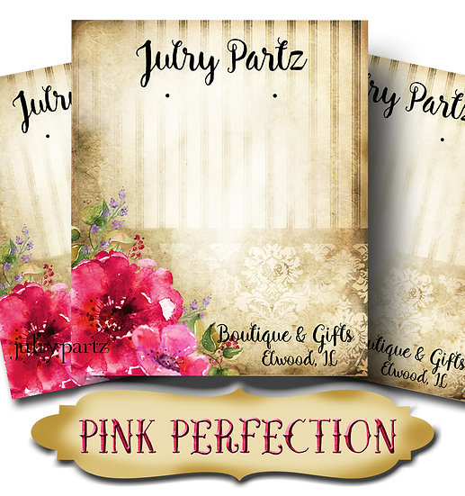 PINK PERFECTION•Custom Cards•Labels•Earring Display•Clothing Tags