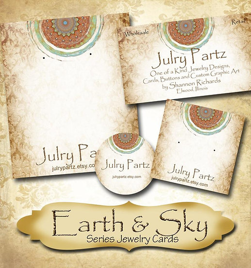 EARTH & SKY #1•Custom Cards•Labels•Earring Display•Clothing Tags