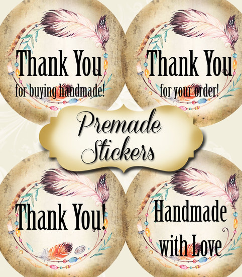 PREMADE •60 Custom 1.5 x 1.5 Round STICKERS•Round Labels•BEADED WREATH 1