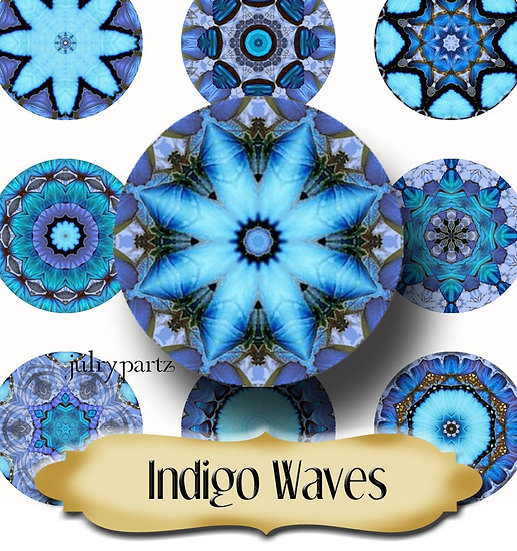 INDIGO WAVES •1x1 Circle Images•Printable Digital Images•Mandala