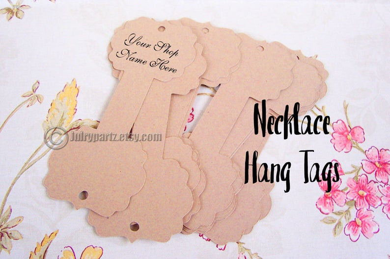 64•Jasmine•Hang Tags•2x5 inch•NECKLACE HOLDERS•Fold Over Tags•Hang Tag