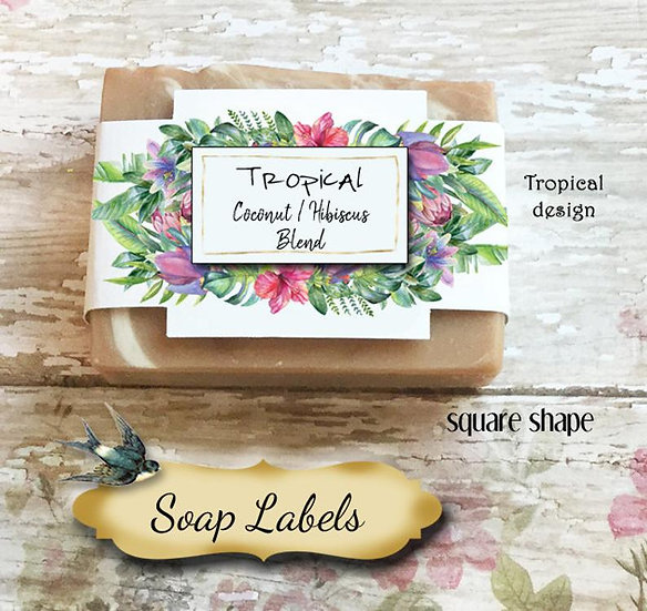 "36•SQUARE ""Tropical #4""Custom SOAP Labels•Soap Packaging•Bar Soap Label"