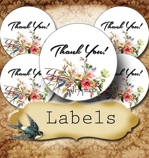 PREMADE •60 Custom 1.5 x 1.5 Round STICKERS•Round Labels•SAVANNAH FLORAL 1