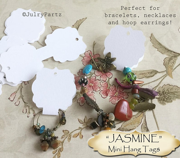 36•4L x 1.75W•JASMINE•Hang Tags•NECKLACE HOLDERS•Fold Over Tags•