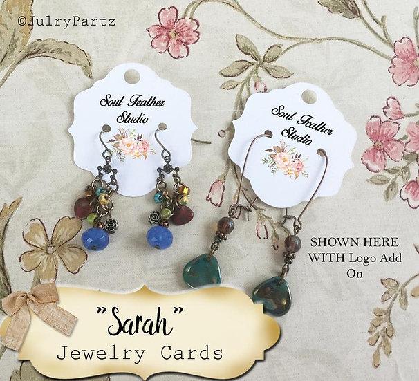 40•2 x 2 SARAH•EARRING Cards•Jewelry Card•Post Earring Card•STUD