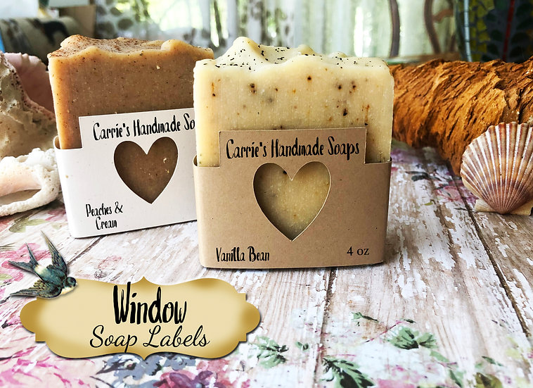 36•HEART WINDOW Custom SOAP Labels•Soap Packaging•Bar Soap Label•