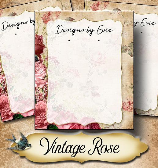 VINTAGE ROSE TAN•Custom Cards•Labels•Earring Display•Clothing Tags