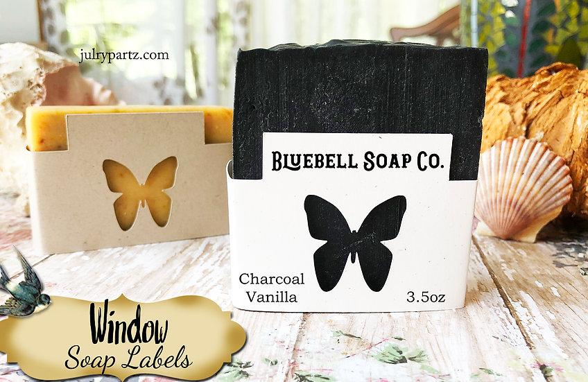 36•BUTTERFLY WINDOW Custom SOAP Labels•Soap Packaging•Bar Soap Label•