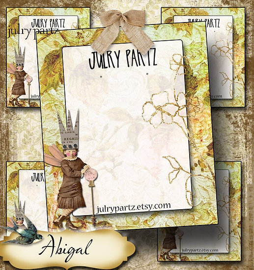ABIGAL•Custom Cards•Labels•Earring Display•Clothing Tags