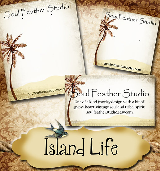 ISLAND LIFE•Custom Cards•Labels•Earring Display•Clothing Tags