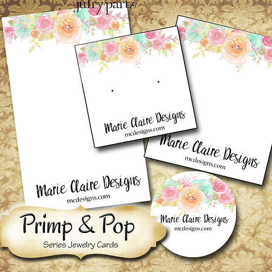 PRIMP & POP•Custom Cards•Labels•Earring Display•Clothing Tags