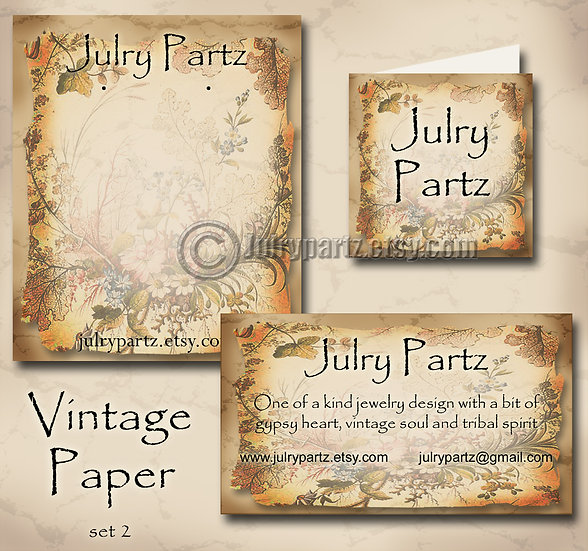 VINTAGE PAPER #2•Custom Cards•Labels•Earring Display•Clothing Tags