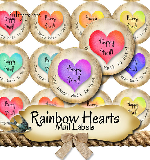Happy Mail •60 Custom 1.5 x 1.5 Round STICKERS•Package Labels•RAINBOW HEART