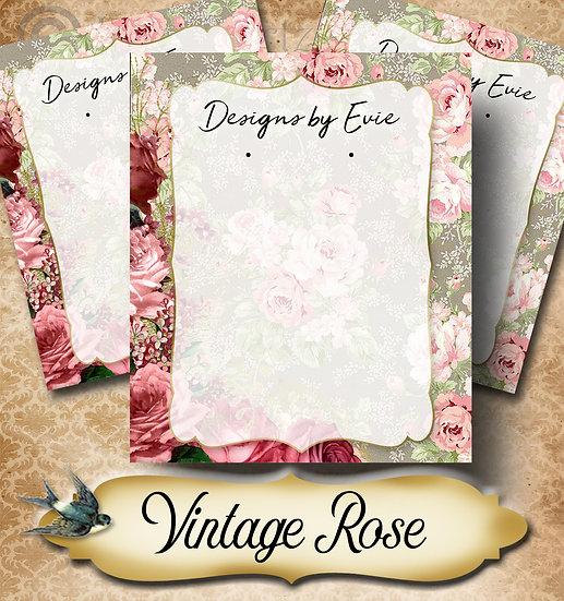 VINTAGE ROSE Grey•Custom Cards•Labels•Earring Display•Clothing Tags