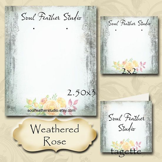 WEATHERED ROSE•Custom Cards•Labels•Earring Display•Clothing Tags