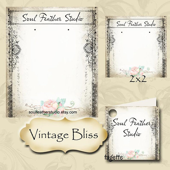 VINTAGE BLISS•Custom Cards•Labels•Earring Display•Clothing Tags
