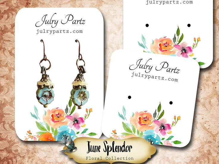 JUNE SPLENDOR •Necklace Card• Earring Cards •Jewelry Cards •Display CARD