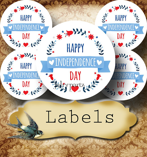 PREMADE •60 Custom 1.5 x 1.5 Round STICKERS•Round Labels•INDEPENDENCE