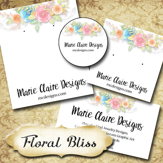FLORAL BLISS•Custom Cards•Labels•Earring Display•Clothing Tags