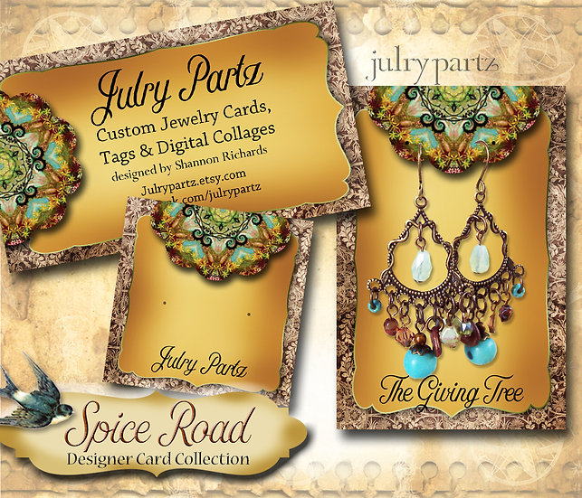 SPICE ROAD #2•Custom Cards•Labels•Earring Display•Clothing Tags