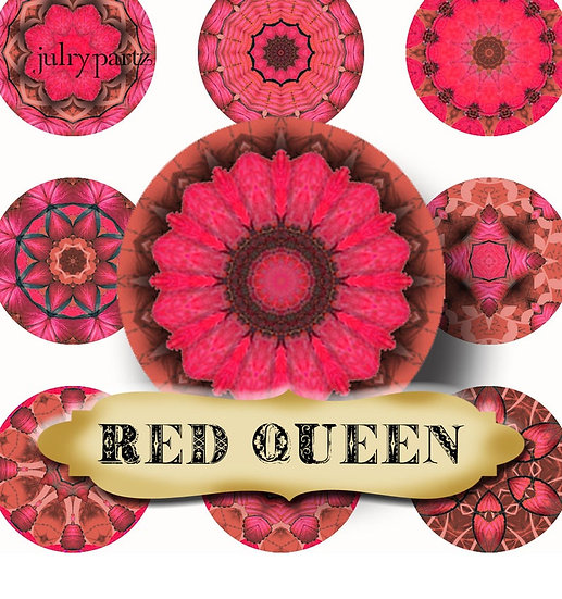 RED QUEEN •1x1 Circle Images•Printable Digital Images•Mandala