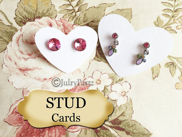 45/72 •2.5 x 2 Heart•EARRING Cards•Jewelry Card•Post Earring Card•STUD