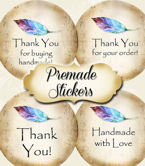 PREMADE •60 Custom 1.5 x 1.5 Round STICKERS•Round Labels•BLUE FEATHER RUSTIC