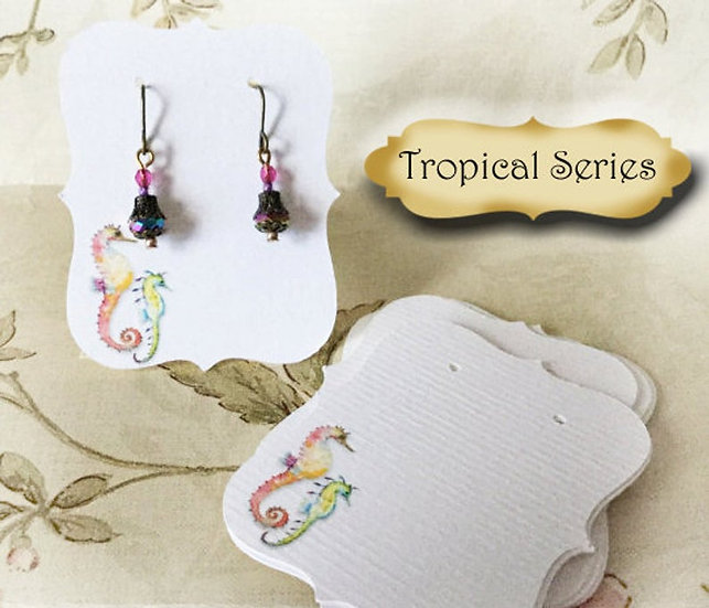 64TROPICAL SEAHORSE•Earring Cards•Jewelry Cards•Necklace Card•Earring Display•Ea