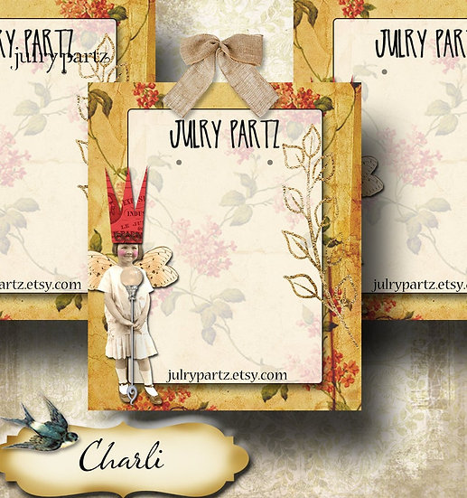 CHARLI•Custom Cards•Labels•Earring Display•Clothing Tags